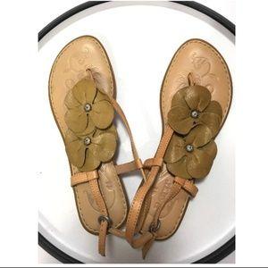Born Floral Thong Stud Leather Flip Flop sandals
